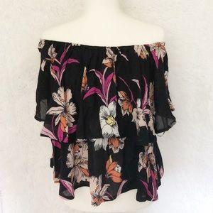 { NWT Japna} Black Floral Off The Shoulder Blouse